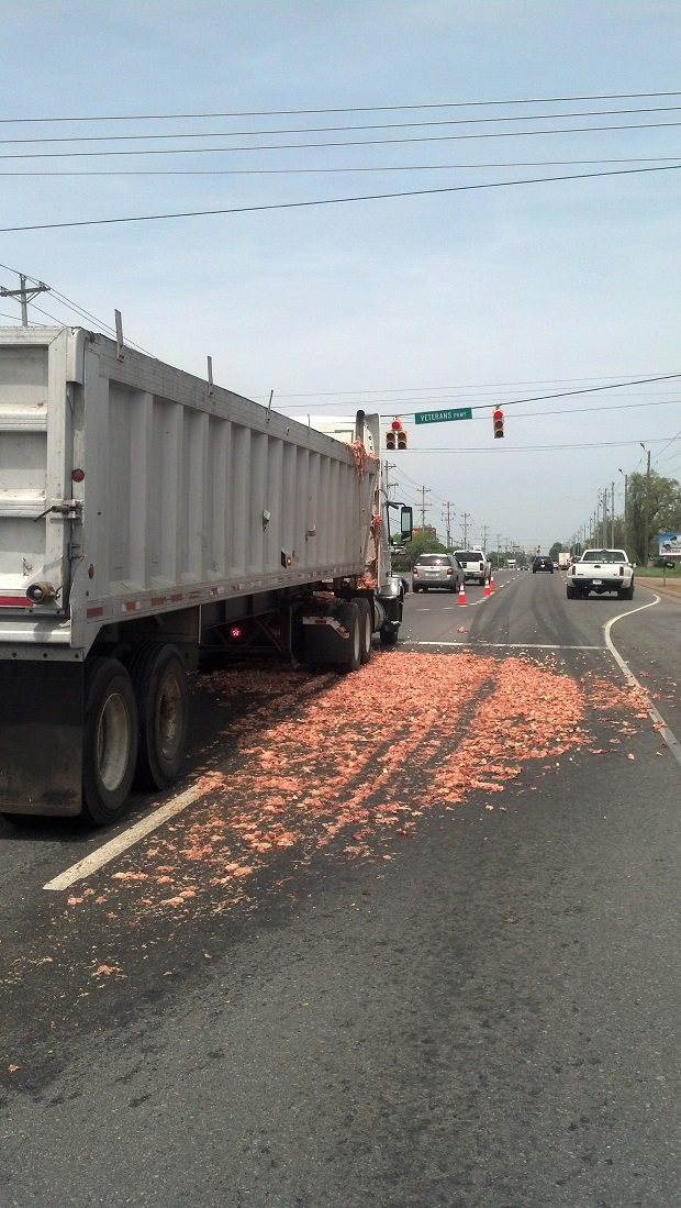 Chicken guts spill all over South Church Street, AGAIN | S. Church St., chicken guts,chicken,chicken spill, chicken,Robards, Kentuck, G and H Trucking,trucking