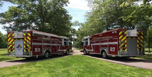 MFRD Places Two New Heavy Rescues in Service   Murfreesboro Fire and Rescue, MFRD, WGNS, Murfreesboro news, WGNS News, new trucks, backing ceremony