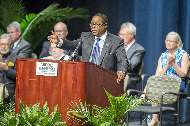 MTSU president emphasizes retention, graduation, jobs to faculty  | Sidney A. McPhee, Sidney McPhee, McPhee, Murfreesboro news, WGNS News, MTSU News, MTSU, President McPhee