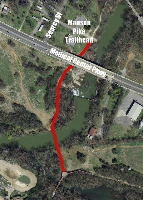 Greenway In Manson Pike Area Closed | Manson Pike Trailhead; Stones River Greenway; install sewer pipeline; WGNS
