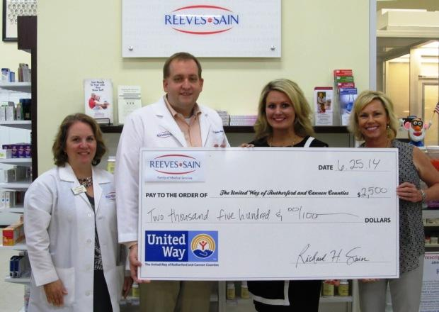 Reeves-Sain's Flu Shot Program Donates $2,500 to UW | Reeves-Sain, flu-shot program, $2,500 given throgh United Way, WGNS