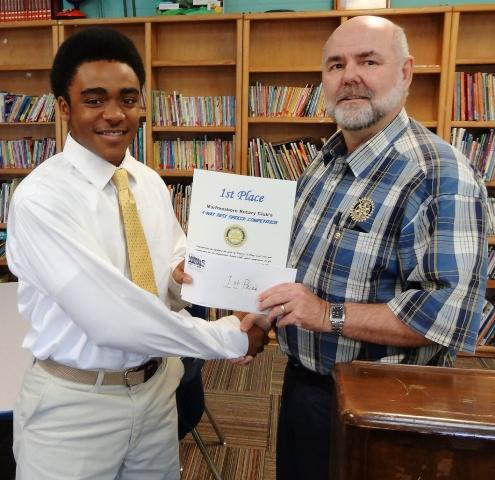 Cameron Terrell Massengill Wins Murfreesboro Rotary's Speech Contest | Murfreesboro Rotary Club, 4 Way Test Speech Contest, Cameron Terrell Massengill, Oakland High School, WGNS