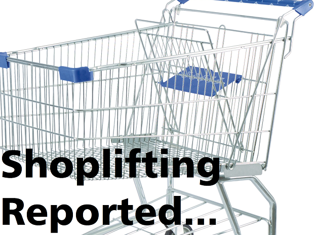 Shoplifting a full cart of groceries