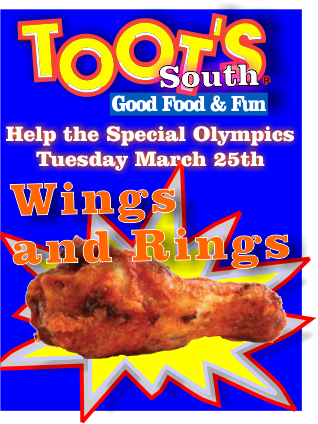Toot's and the Sheriff's Office team up for the Special Olympics!  | Toots South, Toots, Special Olympics, Olympics, wings and rings