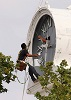 Courthouse clock being painted - History of the Rutherford County Courthouse