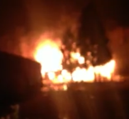 Sunday Night Fire on Newtown Road...Home Fully Involved!  | 10474 Newtown Rd., near Walnut Grove Road, in Rutherford County but very near the Bedford County line, home fully involved, Larry Farley, WGNS