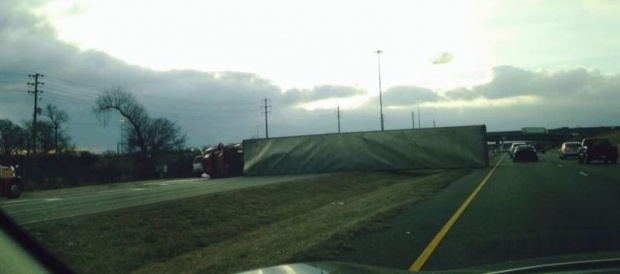 UPDATE: Overturned 18-Wheeler on Broad Street in Murfreesboro, No Injuries | overturned truck, truck semi, broad st. 840