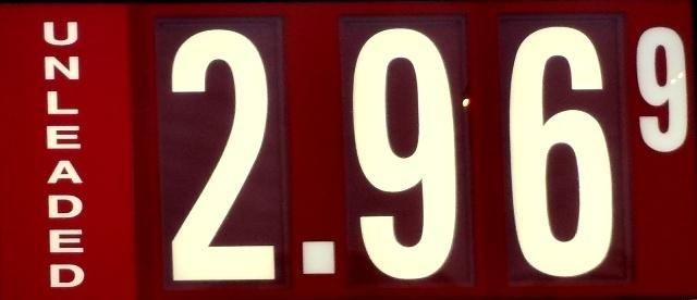 Gas Drops 3-Cents Locally: $2.96/gallon!