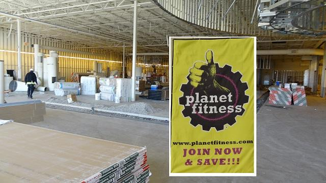 Fitness center going into the former Old Navy space between mall and Walmart. | former Old Navy location, Planet Fitness, mid March, WGNS