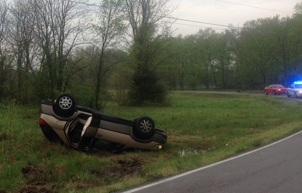 Car overturns in Tuesday morning wreck in Rutherford County | Cedar Grove Road,Accident,wreck,overturned,overturns,Manchester Highway wreck