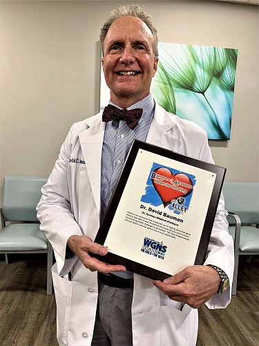 Dr. David Bauman at St. Thomas Medical Partners on the New Salem Highway was presented the November HEART FOR HEALING award.