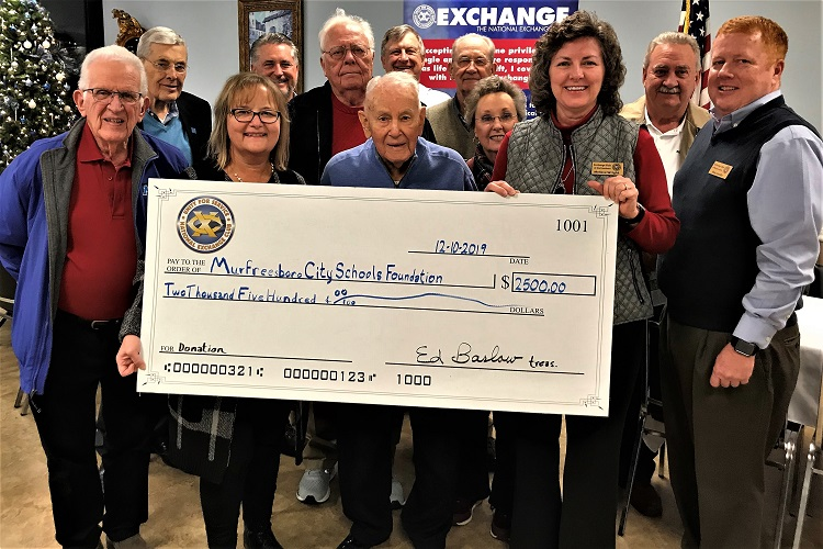 Exchange Club of Murfreesboro $2,500 To City Schools Foundation