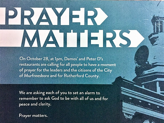 Demos' Family Restaurants Encourage Prayer