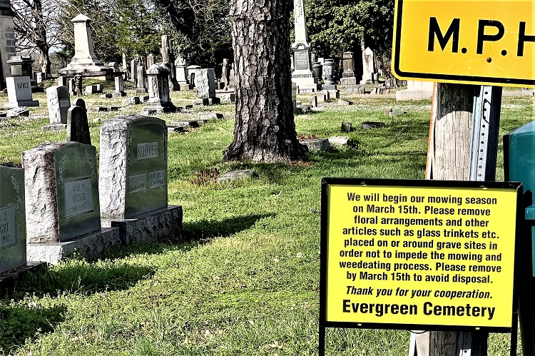 Remove Flowers, Vases, Trinkets From Evergreen Cemetery | Evergreen Cemetery, Murfreesboro, remove flowers, vases, trinkets, tombstones, mowers, WGNS