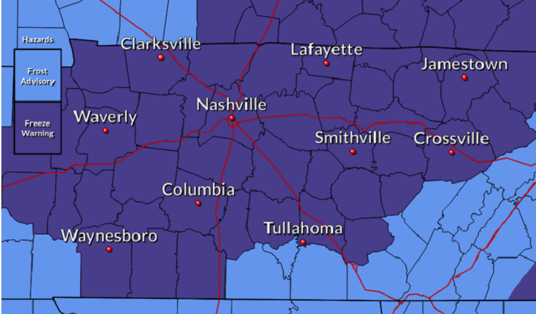 Freeze Warning for Rutherford County
