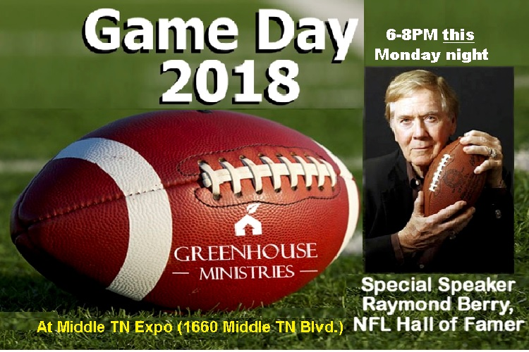 Greenhouse Ministries Game Day 6PM This Monday