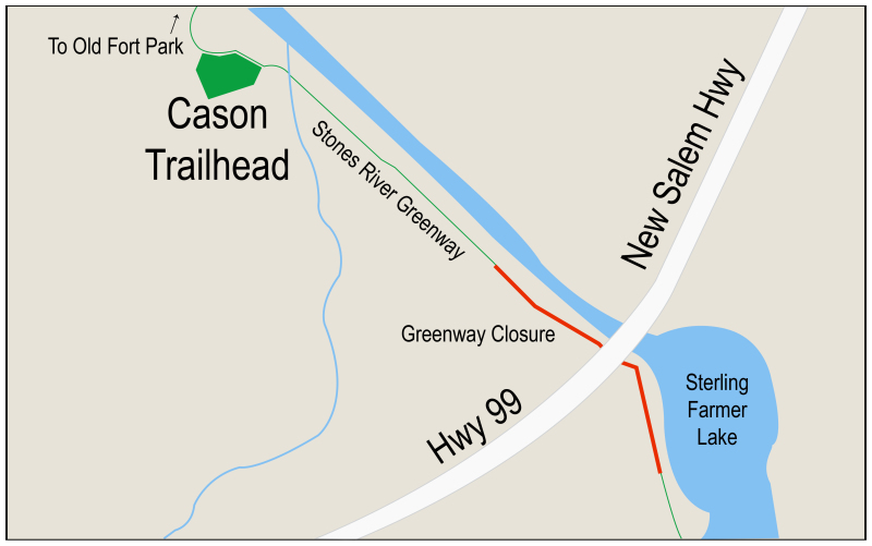 Portion of Stones River Greenway near Cason Trailhead to close for construction project May 7