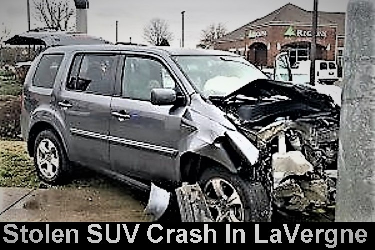 La Vergne Stolen Car, Police Chase, Teens Arrested | La Vergne Police, 3 teens, solen Honda Pilot, crash, in custody, WGNS
