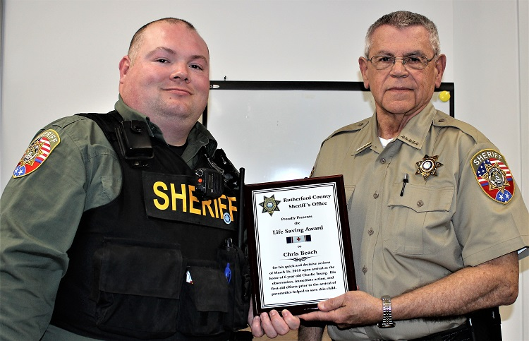 RCSO Deputy Chris Beach Receives Life Savers Award
