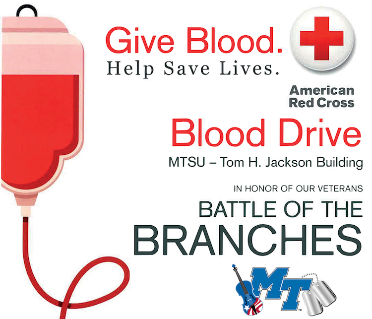 Show your true colors by donating at MTSU 'branch battle' blood drive Sept. 11