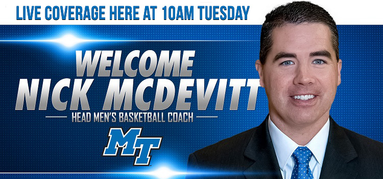 MT MBB Coach Nick McDevitt Introduction Tuesday at 10am