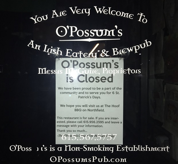 O'Possum's Closed; McGuire Owned