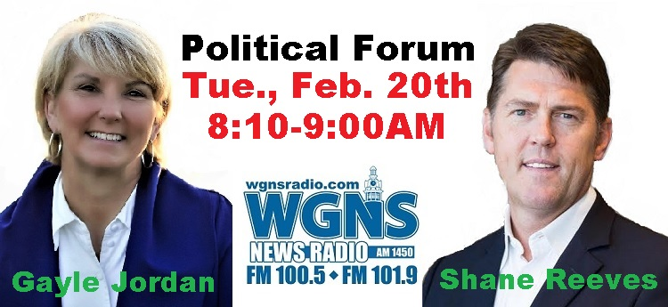 Candidates For 14th District State Senate On WGNS | Gayle Jordan (D), Shane Reeves (R), 14th district state senate, political forum, WGNS