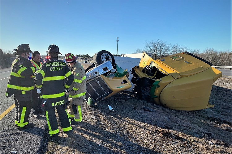 Big Rig Overturned Wednesday Morning On I-840