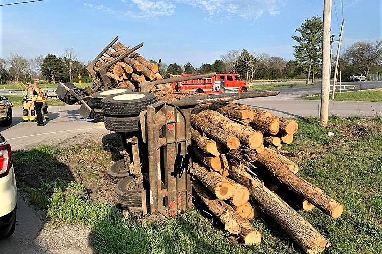 Double-Load of Logs Overturned On Epps Mill Rd/