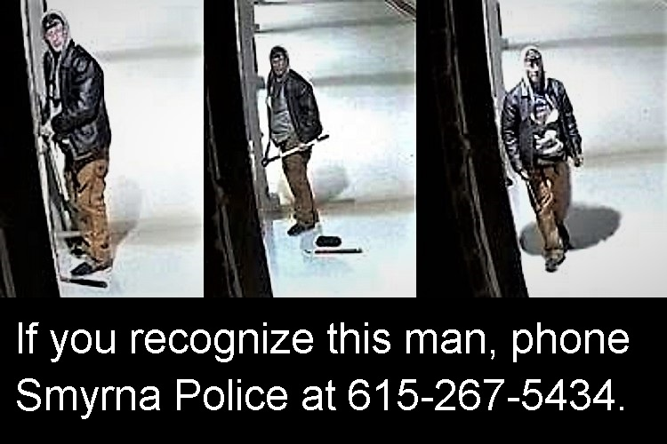 Do you recognize this man?  Early Sunday morning (January 26, 2020) between 5:30 and 6:00 AM, a man cut a hole through the back fence of Simply Self Storage at 300 Wolverine Trail in Smyrna and attempted to break into a storage unit.