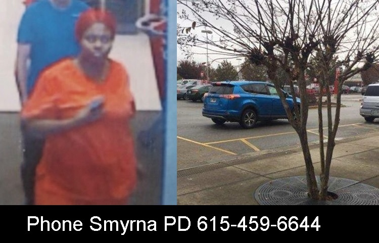 A woman driving a blue Toyota RAV4 is wanted by Smyrna Police for reportedly using fraudulent prescriptions at area pharmacies.