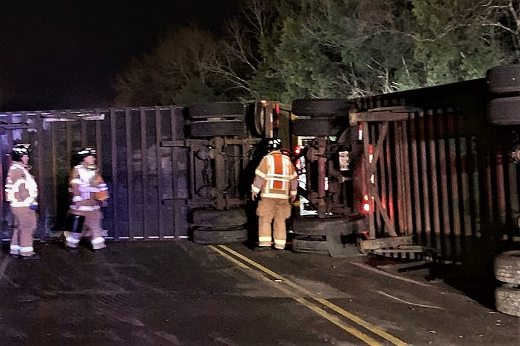 Big Rig Overturns In Smyrna Early Saturday