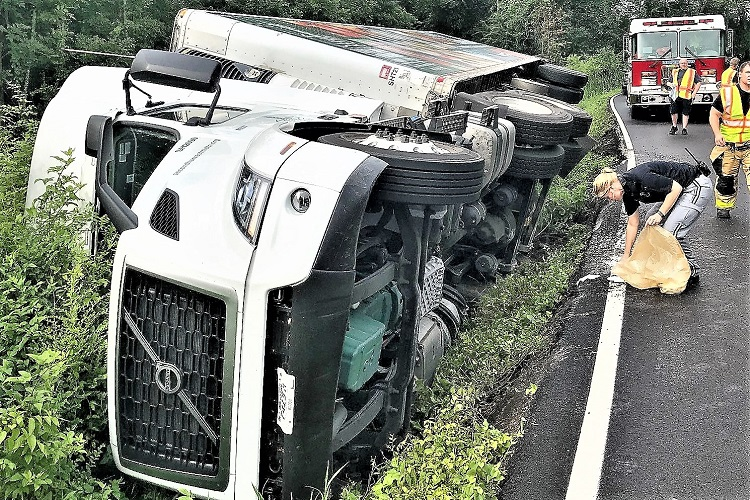 Big Rig Overturns On Swamp Leanna Road