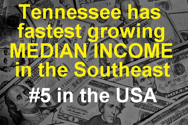 TN Fastest Growing Median Income In Southeast, #5 In USA!