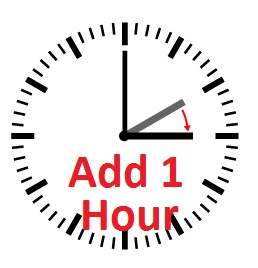 Set your clocks AHEAD 1-hour. Remember, spring forward as we change to  Daylight Savings Time. Make the change right now!