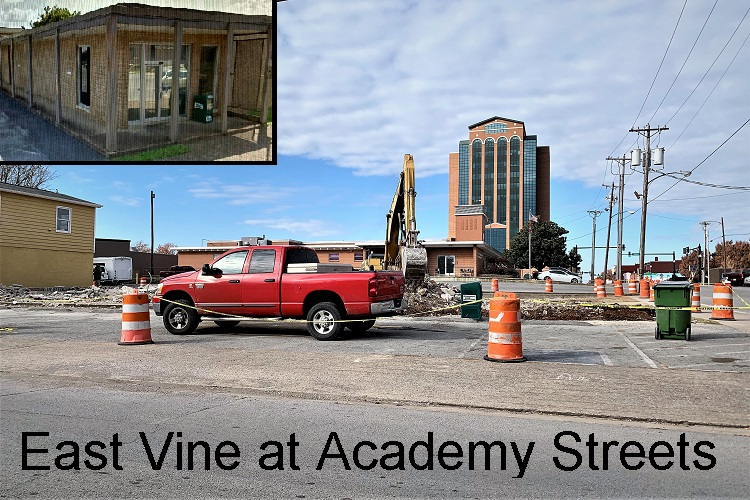 Notice something missing from the corner of East Vine Street and Academy? What memories did you have with 220 East Vine Street?