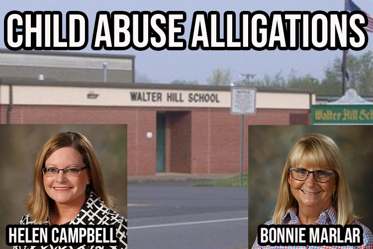 A teacher and the principal at Walter Hill Elementary are charged with misdemeanor child abuse and have been suspended by the school system. The school will be open Monday with an interim principal in place.