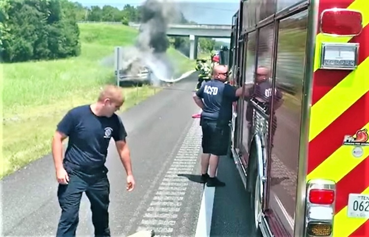 Hot, Hot Weather...Truck Catches FIRE On I-840
