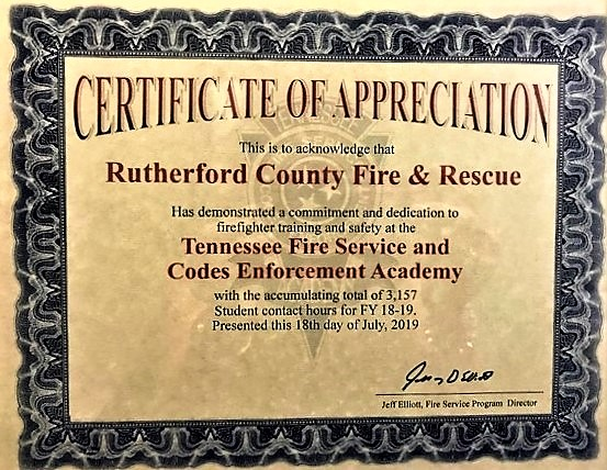 RCFR Highest Training Hours In State