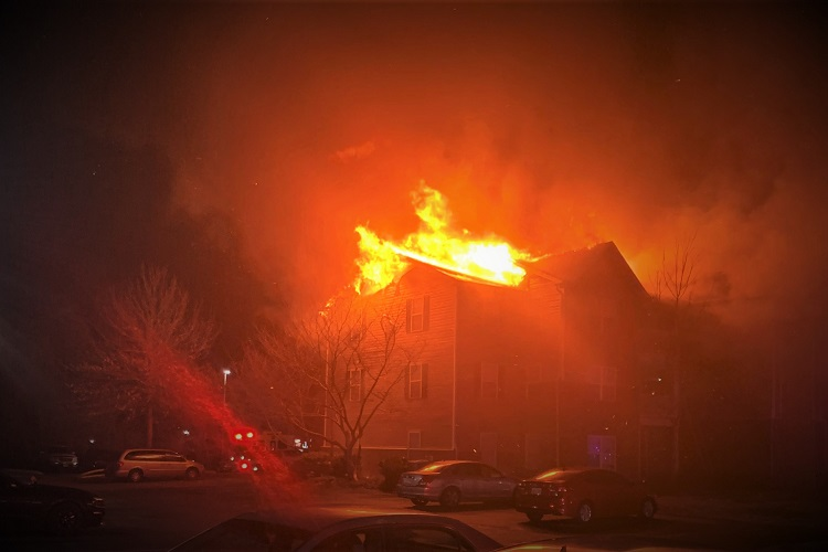 Friday PM Fire Destroys 12-Unit 3-Story Complex