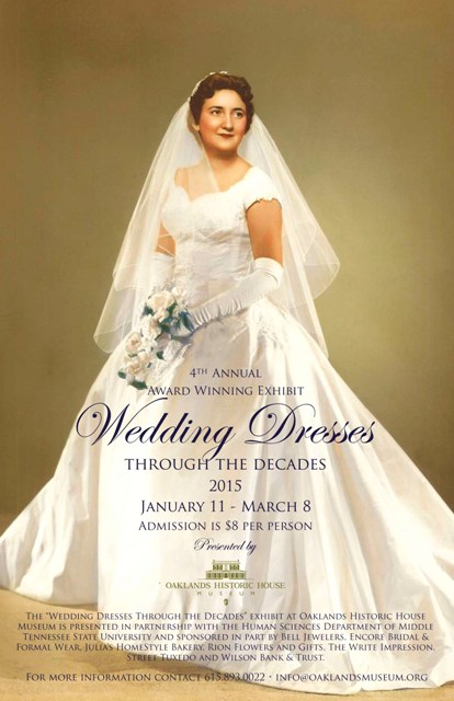 Wedding dress exhibit opens sunday at oaklands mansion for Wedding dress shops in murfreesboro tn